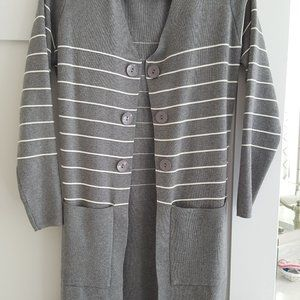 Mid Length Grey and White Striped Cardigan